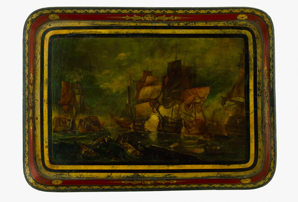 Detail of Lacquered papier-maché tray depicting the Battle of Trafalgar, 1805 by unknown
