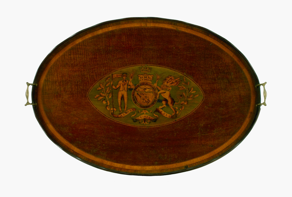Detail of Oval marquetry tray by unknown