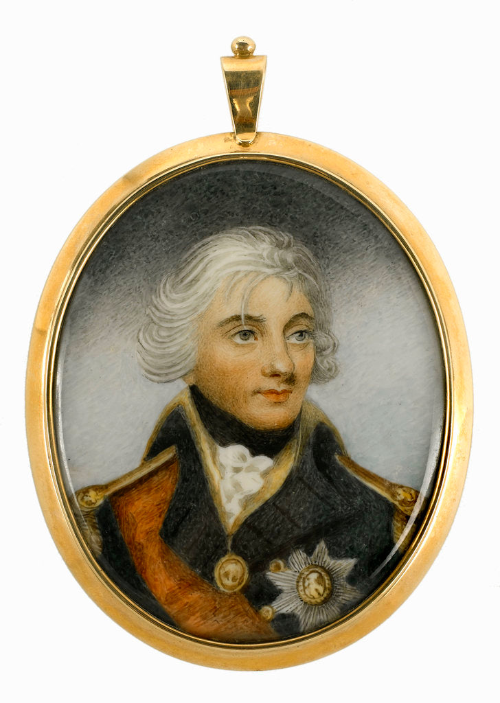 Detail of Miniature painting depicting Vice-Admiral Horatio Nelson (1758-1805), head and shoulders, in uniform, facing slightly right by Robert Bowyer