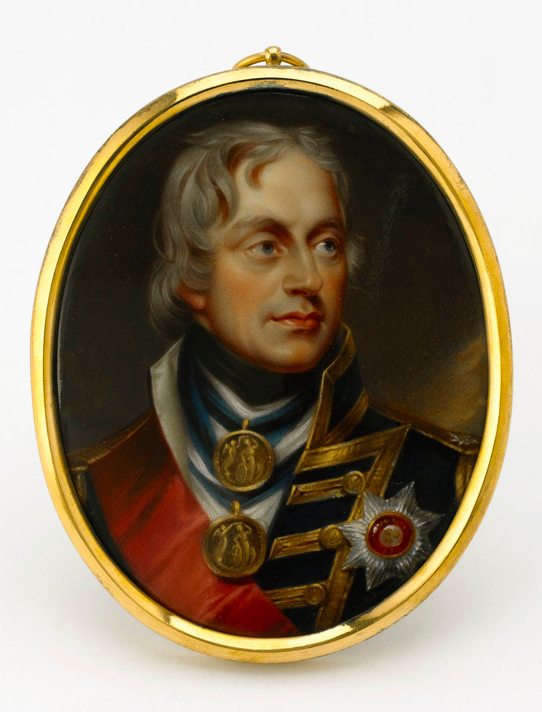 Detail of An enamel miniature depicting Vice-Admiral Horatio Nelson (1758-1805), in full-dress uniform, hatless and facing 3/4 right by Henry Pierce Bone