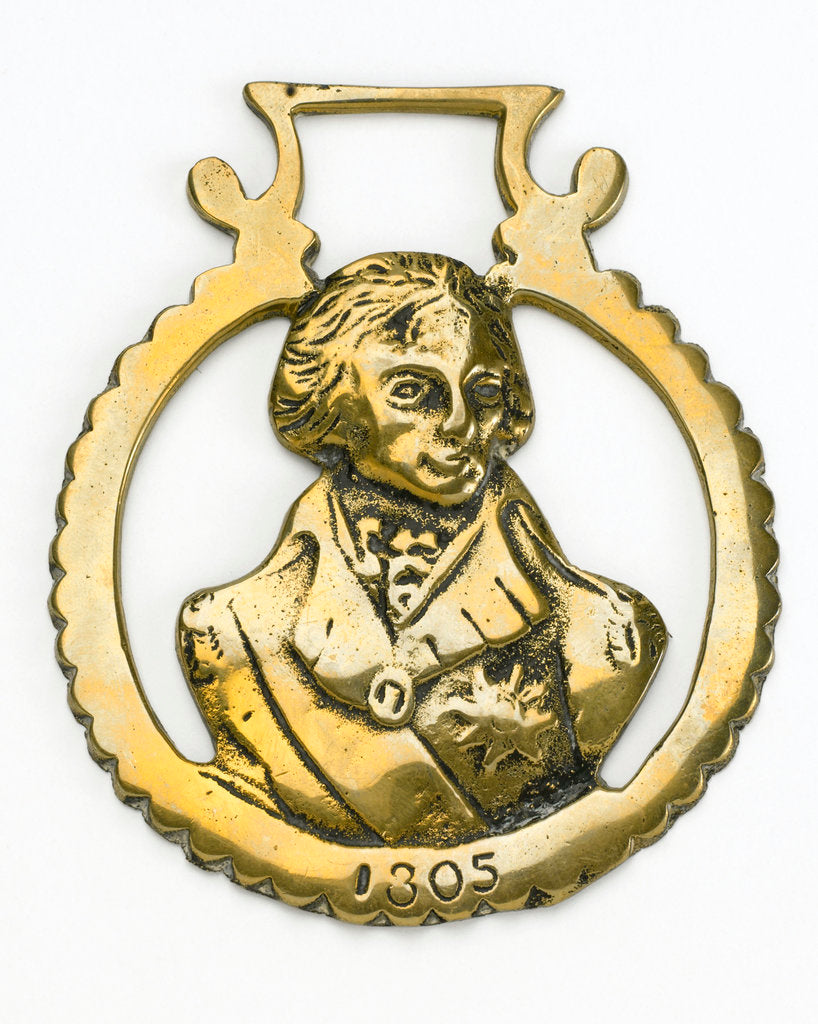 Detail of Horse brass commemorating Vice-Admiral Horatio Nelson (1758-1805) by unknown
