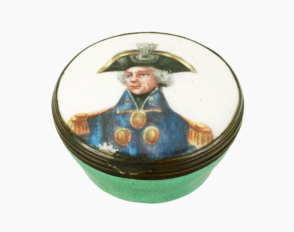Detail of Round patch box commemorating Vice-Admiral Horatio Nelson (1758-1805) by Samson