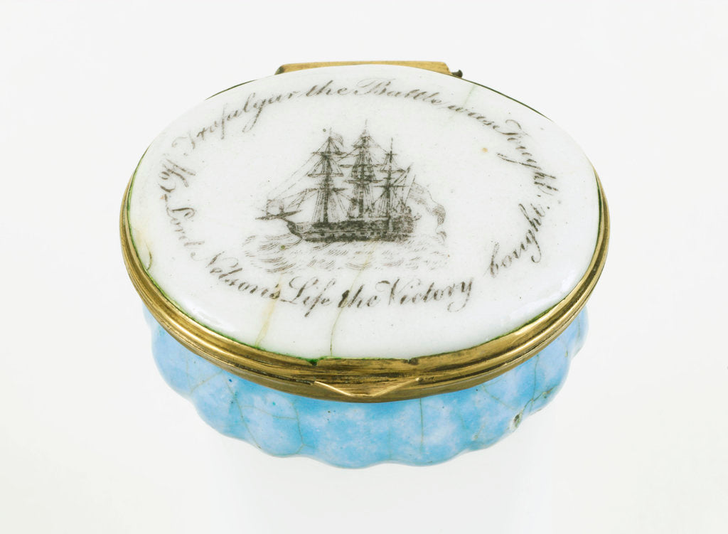Detail of Oval patch box with a mirror inside the lid, commemorating Vice-Admiral Horatio Nelson (1758-1805) and the Battle of Trafalgar, 1805 by unknown