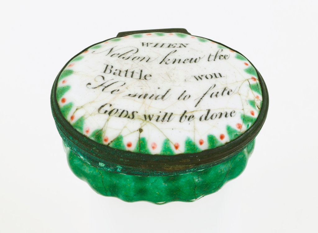 Detail of Oval patch box with a mirror inside the lid, commemorating Vice-Admiral Horatio Nelson (1758-1805) by unknown