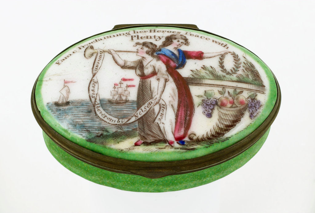 Detail of Oval patch box with a mirror inside the lid, commemorating naval heroes of the French Revolutionary War. by unknown