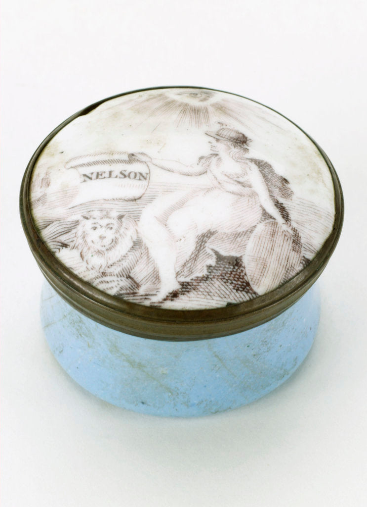 Detail of Round patch box commemorating Vice-Admiral Horatio Nelson (1758-1805) by unknown