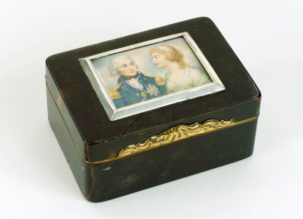Detail of A tortoiseshell box with gilt mounts and a hinged lid by unknown