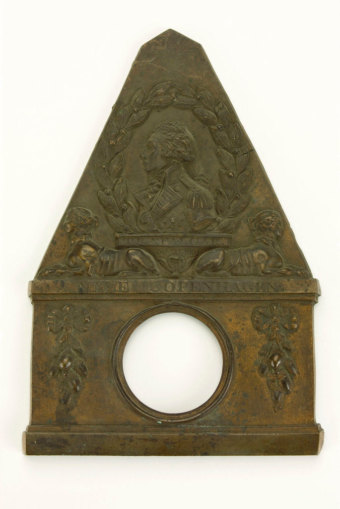 Brass watch stand in the form of a monument commemorating Vice-Admiral Horatio Nelson (1758-1805) and his victories at  the Nile, Copenhagen and Trafalgar by unknown