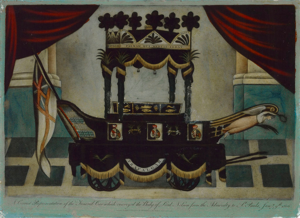 Detail of A Correct Representation of the Funeral Car which conveyed the Body of Lord Nelson from the Admiralty to St Paul's' by W.B. Walker