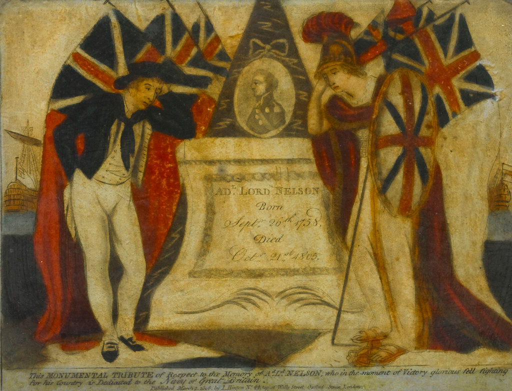 Detail of This Monumental Tribute of Respect to the Memory of Ad. Ld. NELSON, who in the moment of Victory gloriously fell fighting for his country is Dedicated to the Navy of Great Britain' by J. Hinton