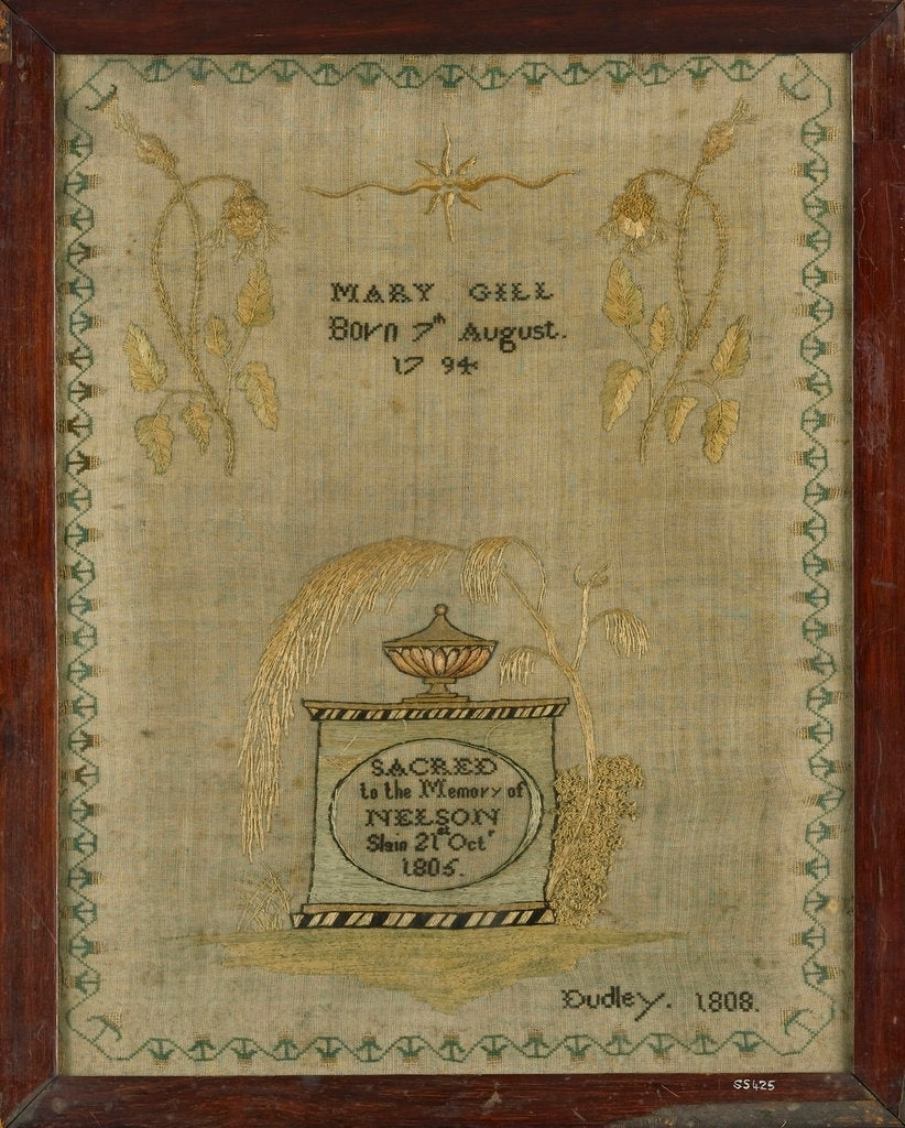 Detail of A mourning sampler framed in oak by Mary Gill