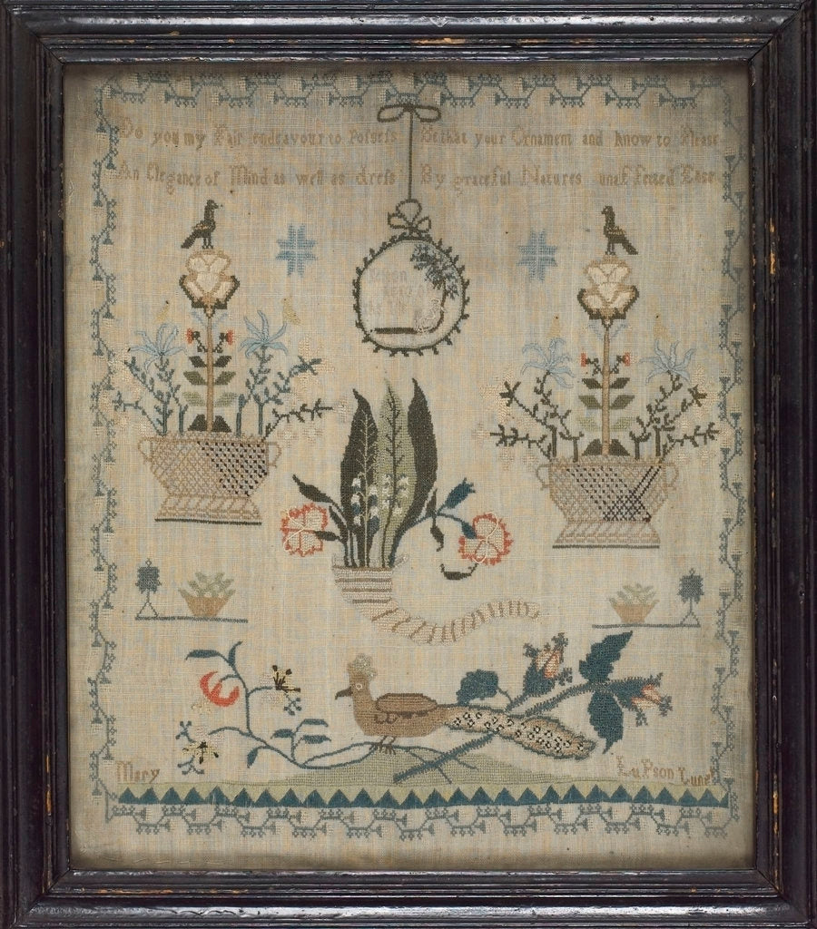 Framed and glazed linen sampler by Mary Lupson