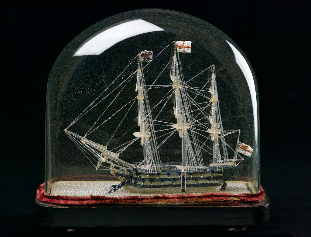 Detail of Ship model in glass dome by unknown