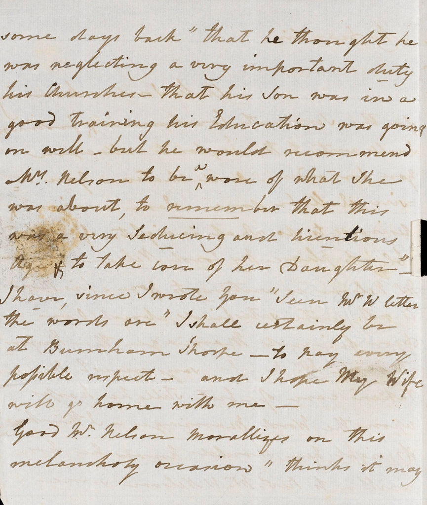 Detail of Letter from Lady Nelson to Alexander Davison, page two by Lady Frances Nelson