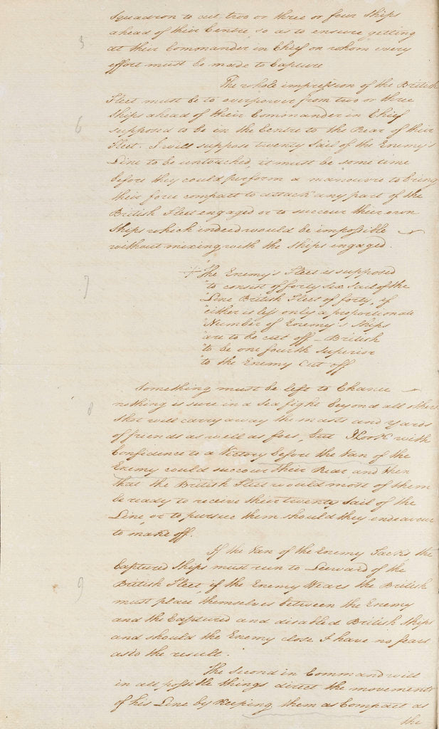 Detail of Nelson's secret memorandum, page one by Horatio Nelson