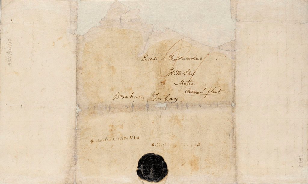 Detail of Letter from Lt Paul Nicolas of HMS 'Belleisle' with account and battle plan for Trafalgar, 1805 by Paul Nicolas