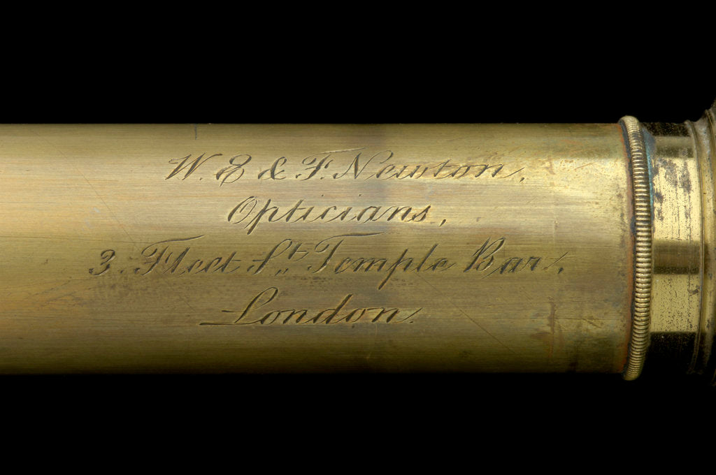 Detail of Pocket telescope - draw tube inscription by William & Frederick Newton