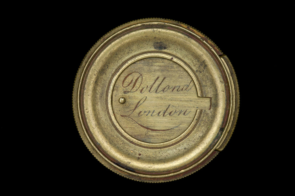 Detail of Pocket telescope - objective lens cover inscription by Dollond