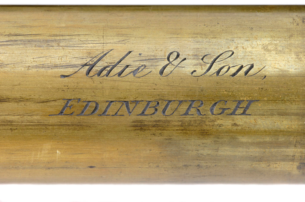 Detail of Pocket telescope - draw tube inscription by Adie & Son