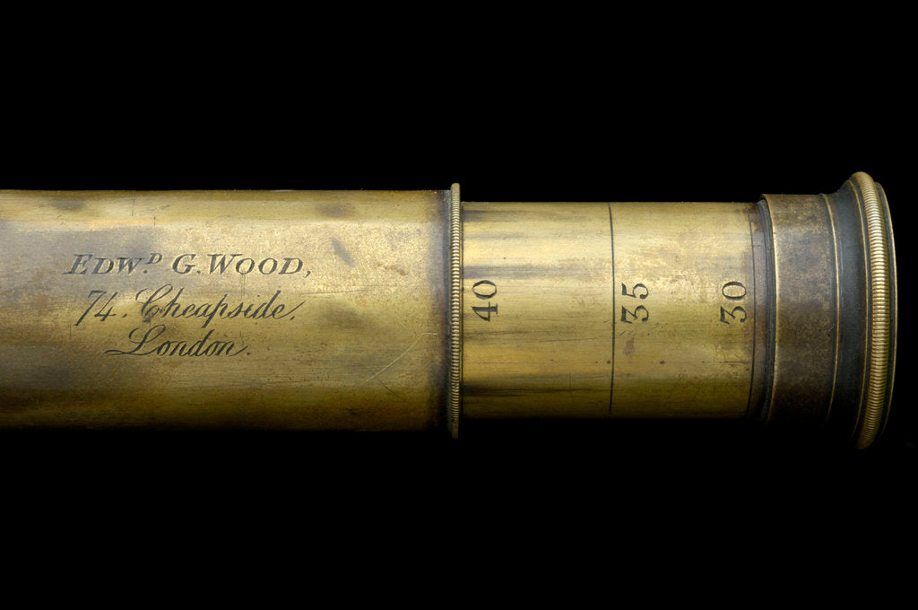 Detail of Portable telescope- draw tube inscription by Edward G. Wood