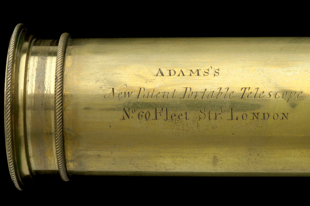 Detail of Adams's New Patent Portable Telescope - draw tube inscription by Adams