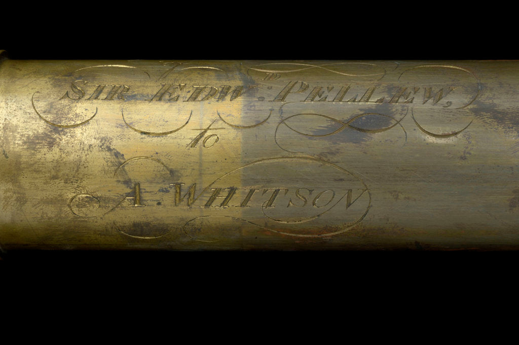 Detail of Portable telescope- draw tube inscription by Bate
