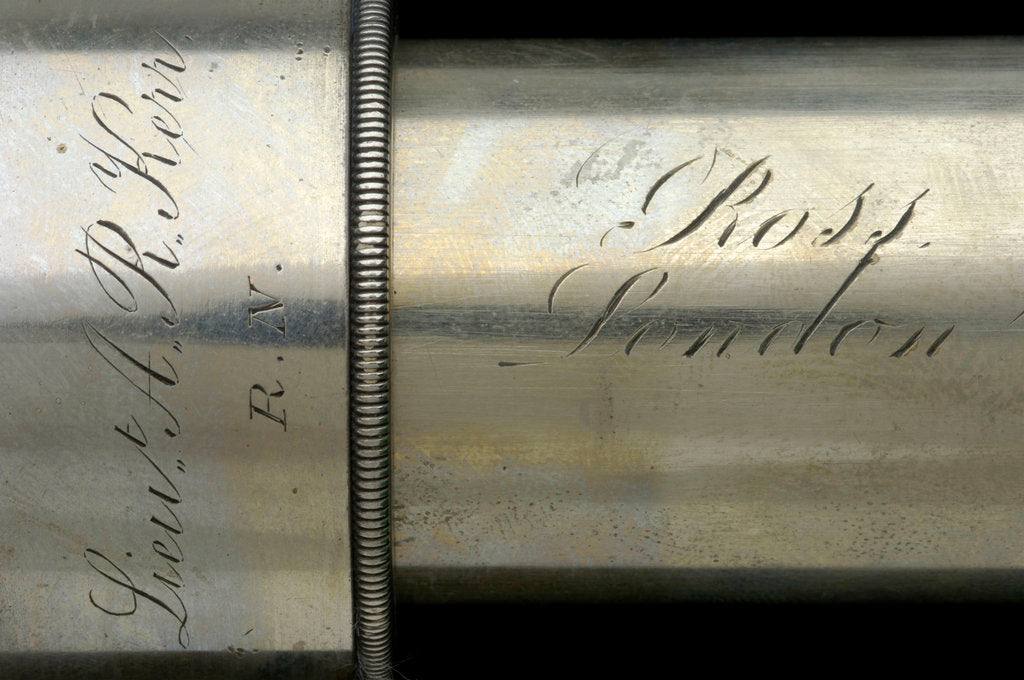Detail of Officer of the Watch telescope- draw tube inscription by Thomas Ross