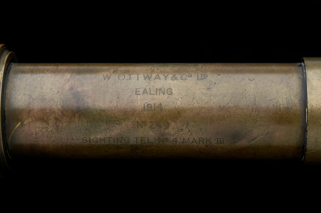 Detail of Gun-sighting telescope- barrel inscription by W. Ottway & Co. Ltd.