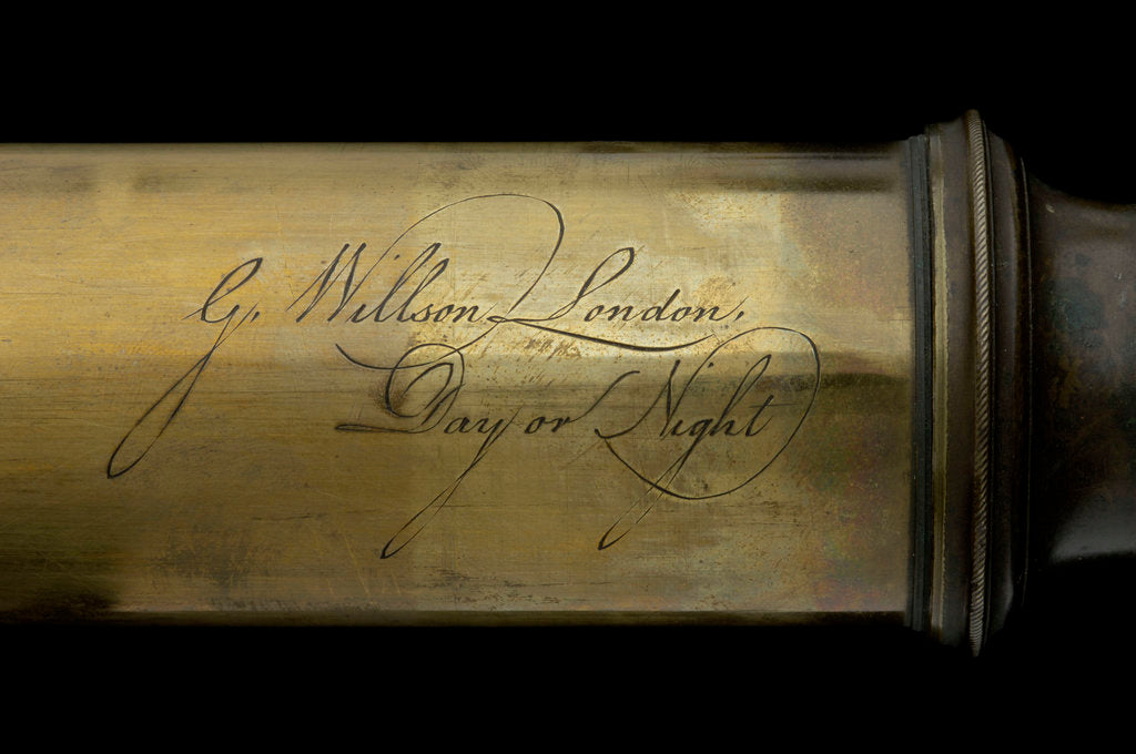 Detail of Day or night telescope- draw tube inscription by George Willson