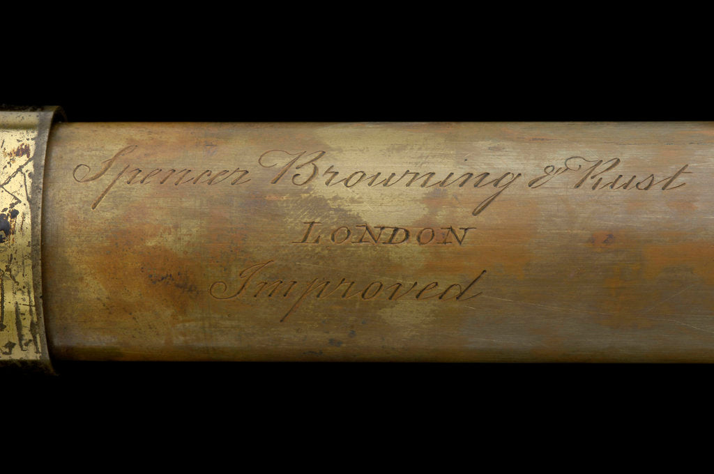 Detail of Naval telescope - inscription by Spencer Browning & Rust