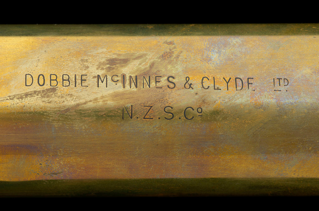 Detail of Naval telescope - inscription by Dobbie McInnes & Clyde Ltd.