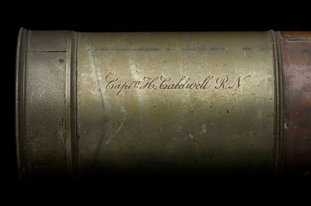 Detail of Naval telescope - inscription by Andrew Ross