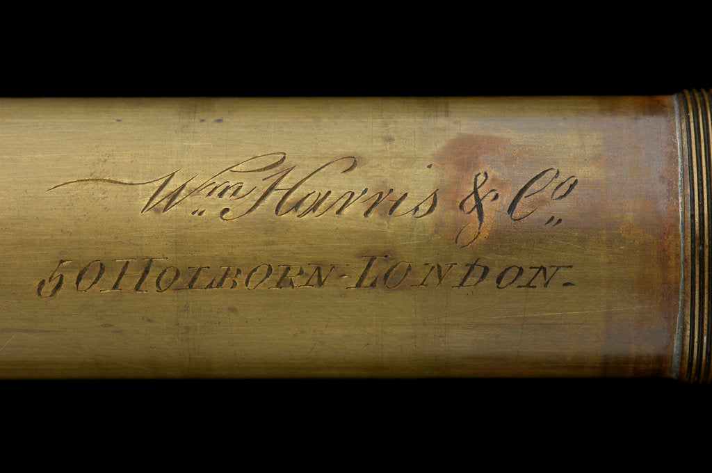 Detail of Walking stick telescope - inscription by William Harris & Co.