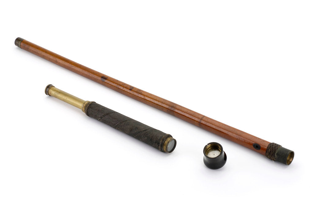 Detail of Walking stick telescope by unknown