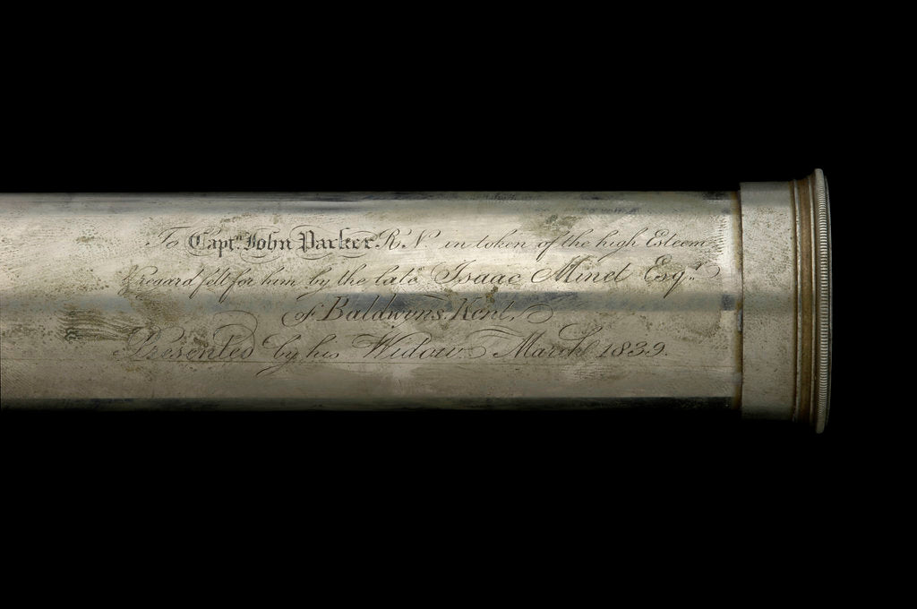 Detail of Naval telescope- draw tube inscription by Dollond