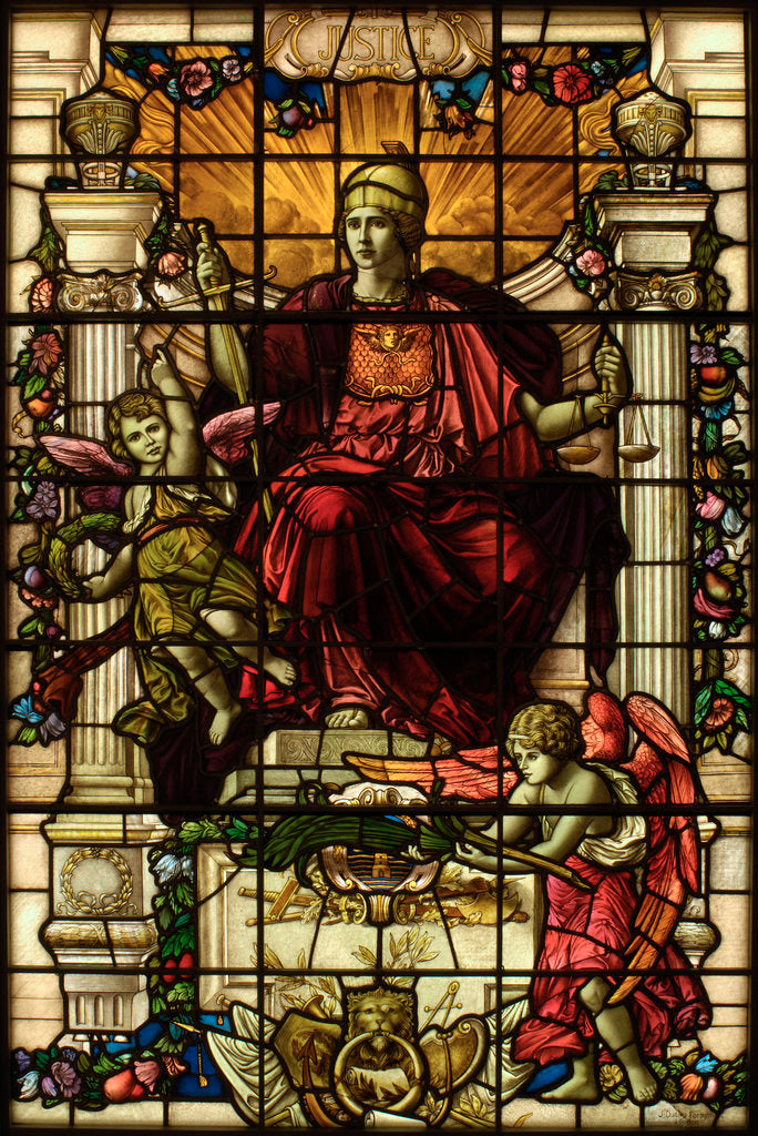 Detail of Baltic Exchange Glass, The Virtue Windows, Justice by John Dudley Forsyth