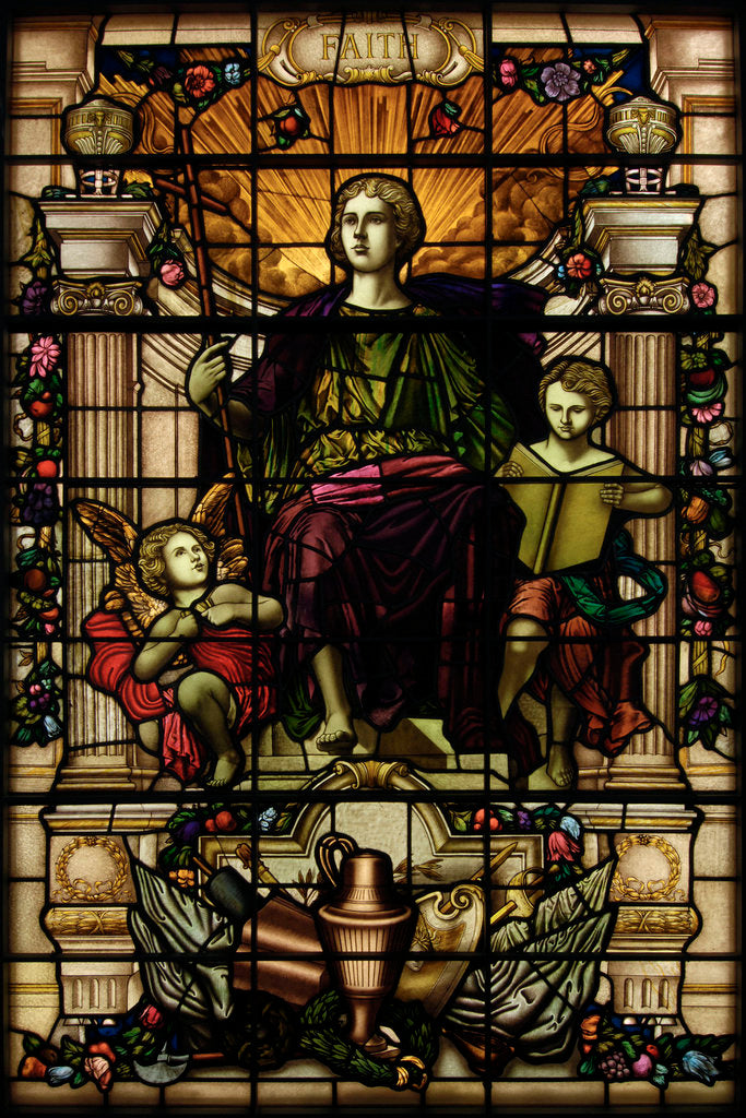 Detail of Baltic Exchange Glass, The Virtue Windows, Faith by John Dudley Forsyth