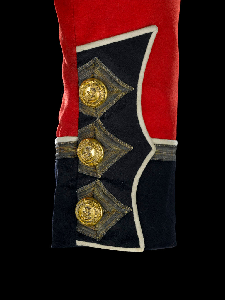 Detail of Tunic - cuff detail, Royal Marines Light Infantry uniform: pattern 1856-1863 by J. & C. Linney