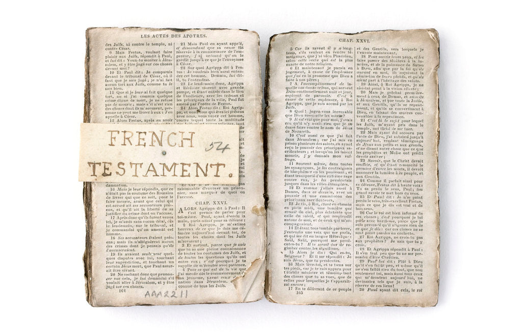 Detail of French New Testament' double page spread by unknown