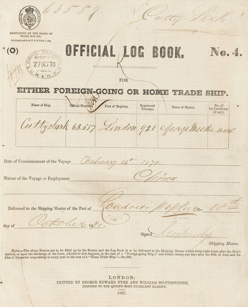Detail of Official logbook of 'Cutty Sark' (1869) recording a voyage from London to China in 1870 under the command of Captain Moodie by unknown