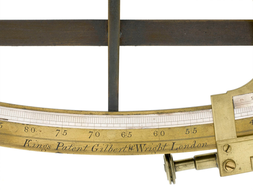 Detail of Sextant, brass - Gilbert & Wright - inscription by Gilbert & Wright