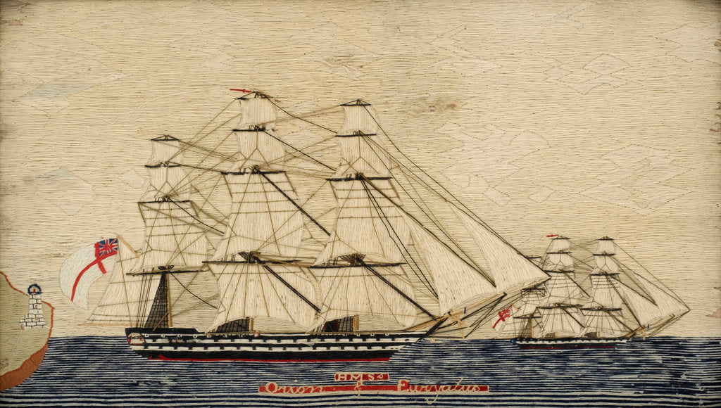 Detail of Two warships in full sail by unknown