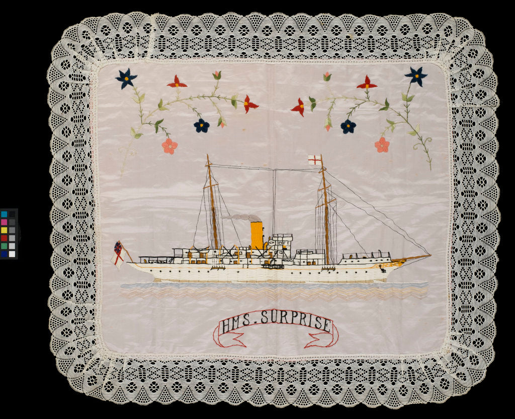 Detail of An embroidered silk cushion, showing HMS 'Surprise' by unknown