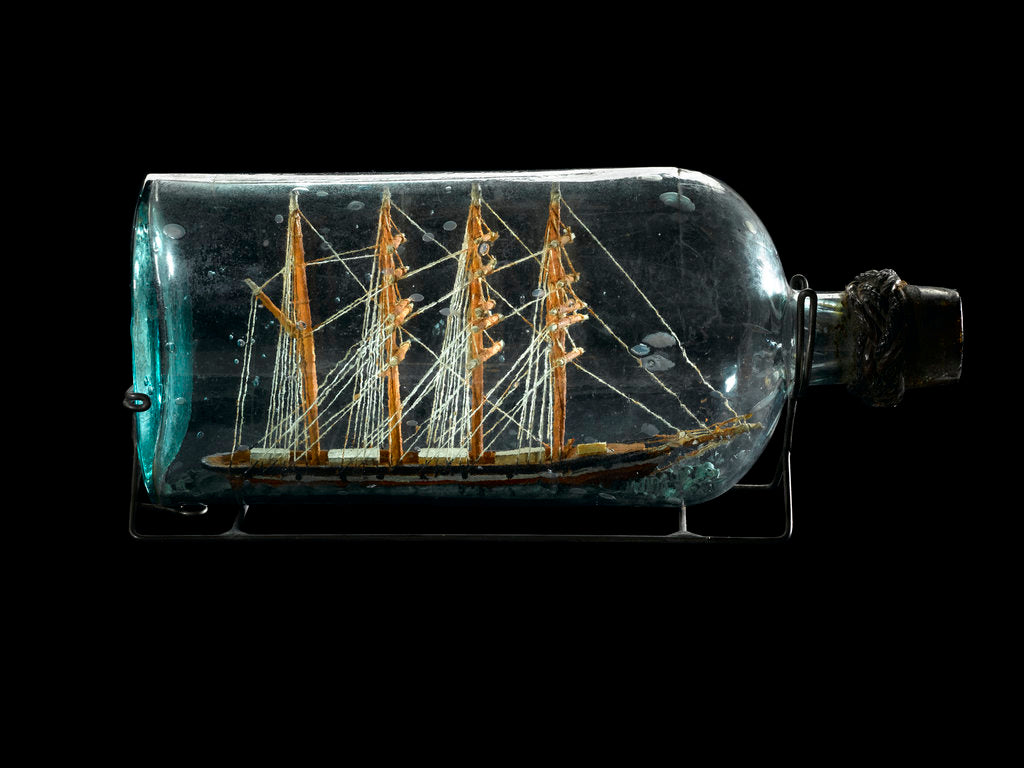 Detail of Ship model in a bottle by Robert Orr