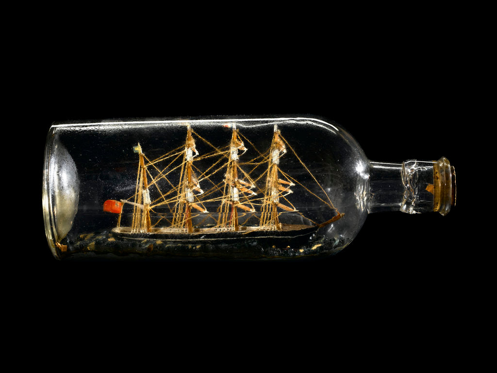 Detail of Ship model in a bottle by unknown
