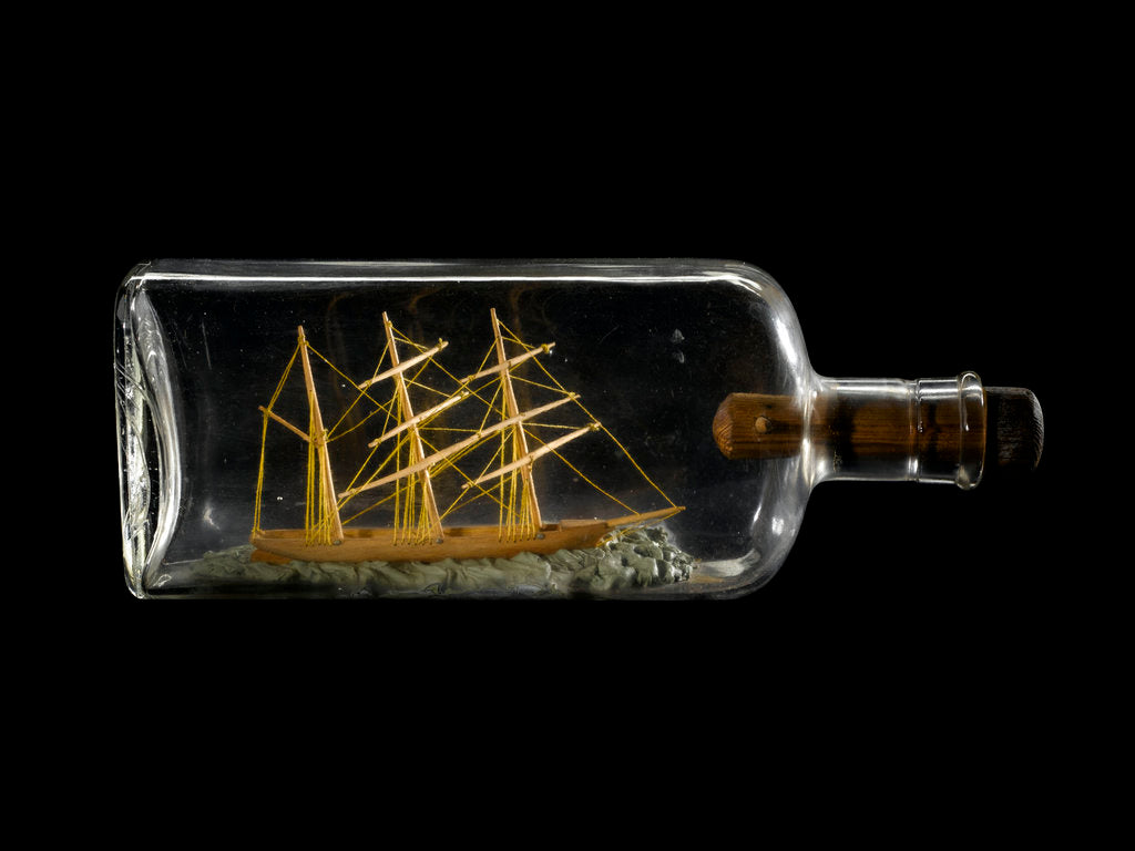 Detail of A spirit bottle containing a demonstration model of a three-masted barque by Robert Orr