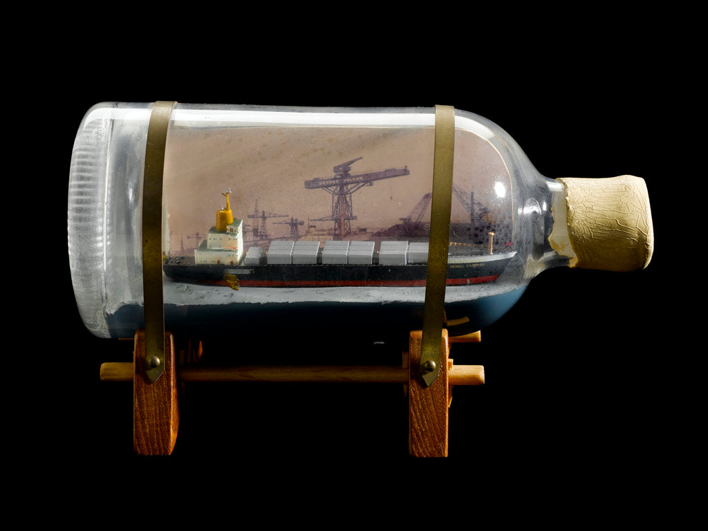 Detail of A bottle containing a model ship by unknown