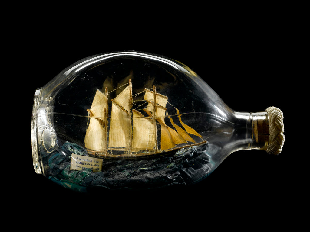 Detail of Ship model in a bottle by Dr Mark Lester