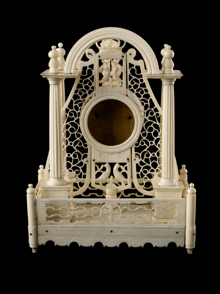 Detail of A watch stand made in bone by prisoners of war confined in Norman Cross Barracks during the Napoleonic Wars by French Armed Forces