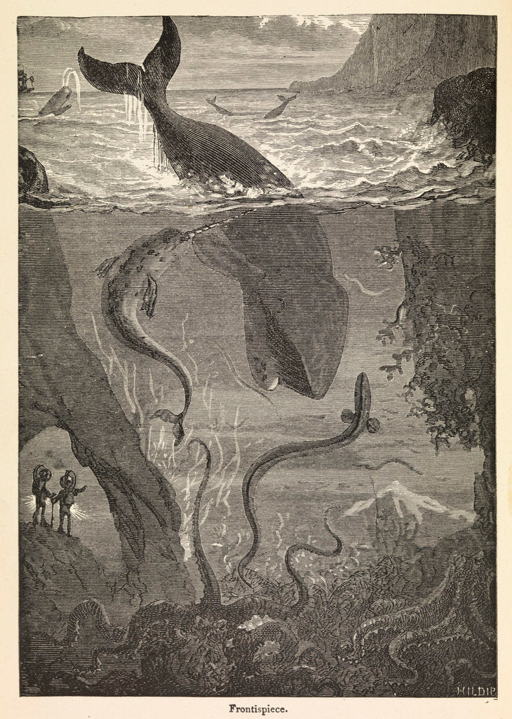 Detail of Frontispiece of Jules Verne's 'Twenty Thousand Leagues Under The Sea' by Alphonse-Marie-Adolphe de Neuville